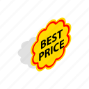banner, best, design, isometric, label, price, tag icon