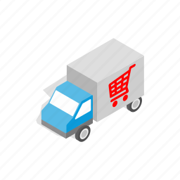 cargo, delivery, illustration, isometric, service, transport, truck icon