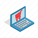 internet, isometric, laptop, online, shop, shopping, technology icon