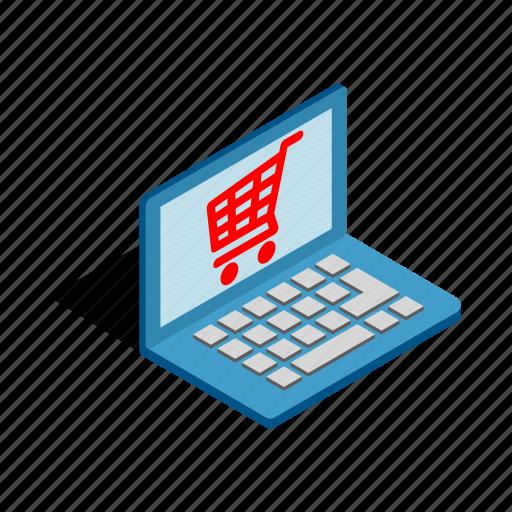 internet, isometric, laptop, online, shop, shopping, technology icon