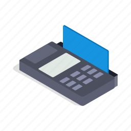 bank, card, finance, isometric, machine, terminal, transaction icon
