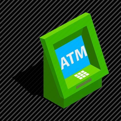 atm, bank, banking, cash, finance, isometric, machine icon
