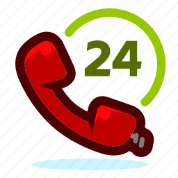 call, communication, customer services, help, phone, phone call, service, support, talk, telephone, twenty four hours, whole day icon