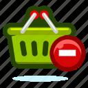 basket, buy, cart, delete, ecommerce, remove, shop, shopping, webshop icon