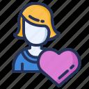 customer, heart, user, woman icon