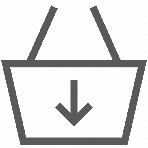 basket, buy, cart, down, download, shop, shopping basket icon