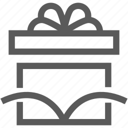 box, delivery, logistics, open, present, ribbon, shipping icon