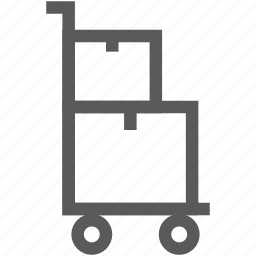 box, delivery, delivery box, hand truck, package, wagon icon