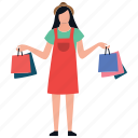 buying, leisure time, purchasing, shopping girl, spending icon