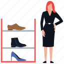 girl shopping, shoes rack, shoes shop, shoes shopping, shoes store icon