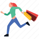 buying, leisure time, purchasing, shopping girl, urgent shopping icon