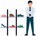 man shopping, shoes rack, shoes shop, shoes shopping, shoes store icon