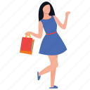 purchasing, girl shopping, buying, leisure time, teenager shopping icon