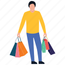 purchasing, shopping boy, spending, buying, leisure time icon