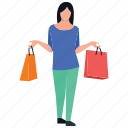 buying activity, girl posing, girl standing, leisure activities, shopping time icon