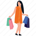purchasing, spending, buying, leisure time, shopping girl icon