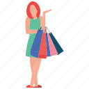 girl standing, purchasing, shopping girl, shopping time, window shopping icon