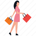 cloth shopping, purchasing, buying, leisure time, shopping girl icon