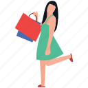 buying time, leisure time, purchasing, shopping girl, spending icon