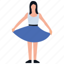 dress selection, girl standing, purchasing, shopping girl, shopping time icon