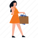 purchasing, buying, leisure time, shopping girl icon