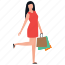 buying, leisure time, purchasing, shopping girl, spending girl icon