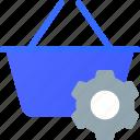 basket, ecommerce, settings, shopping