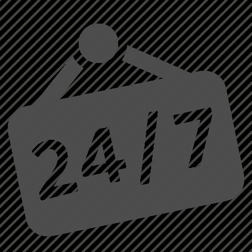 24/7, door, door sign, shop, shopping, sign icon