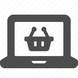 basket, e-commerce, laptop, online, shopping icon
