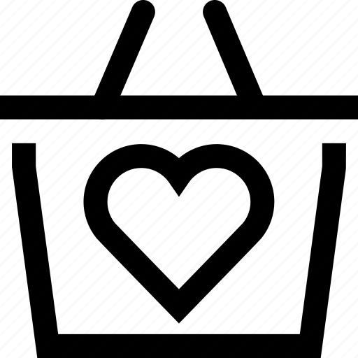 bag, basket, cart, heart, love, shop, shopping icon