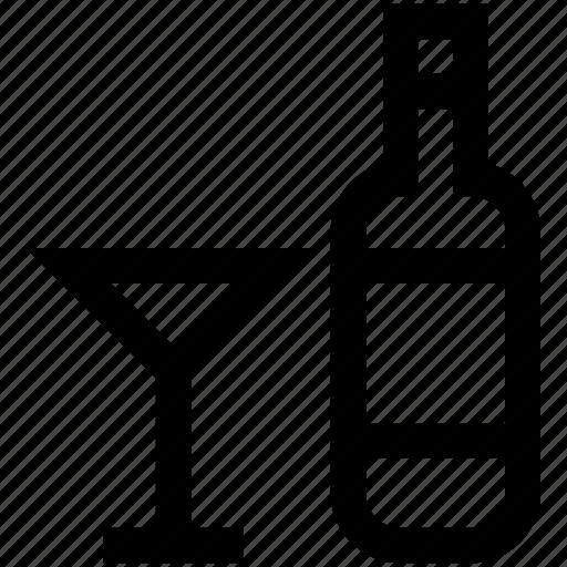 alcahol, bottle, drink, glass, wine icon