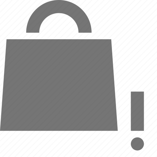 alert, bag, error, exclamation, shopping icon