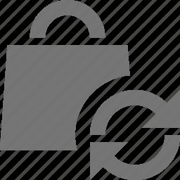 bag, refresh, reload, shopping, sync icon