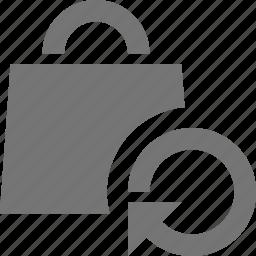 arrow, bag, refresh, reload, shopping, sync icon
