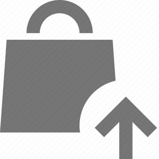 arrow, bag, shopping, up, upload icon