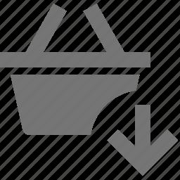 arrow, basket, down, download, shopping icon