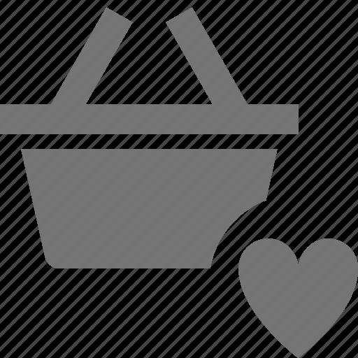 basket, favorite, heart, like, shopping icon