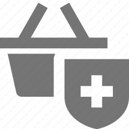 basket, security, shield, shopping icon