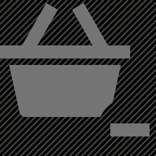 basket, minimize, minus, shopping icon