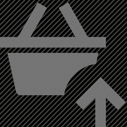 arrow, basket, shopping, up, upload icon