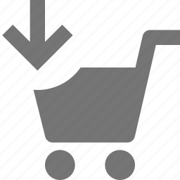 arrow, cart, down, download, shopping icon
