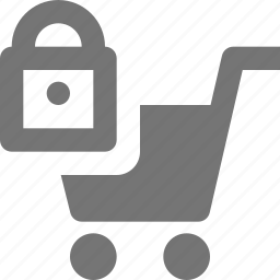 cart, lock, security, shopping icon