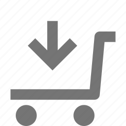 arrow, cart, down, download, shopping, trolley icon