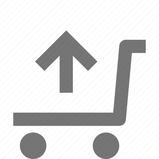 arrow, cart, shopping, trolley, up, upload icon