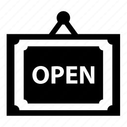 board, letter, name, open, shop, sign, square, time icon