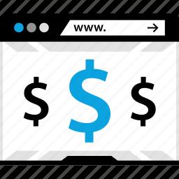 dollar, online, shopping, www icon