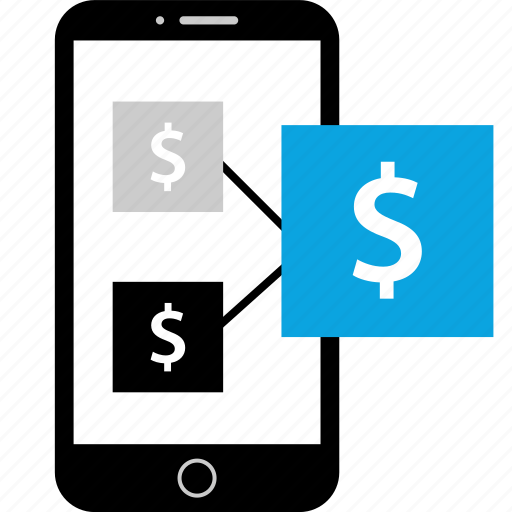 money, payment, phone, process icon
