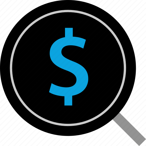 dollar, look, money, pay, payment, search, sign icon