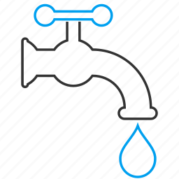 drop, faucet, pipe, plumbing, source, tap, water supply icon