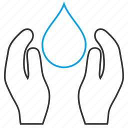 care, drop, environment, hands, nature, palms, water icon